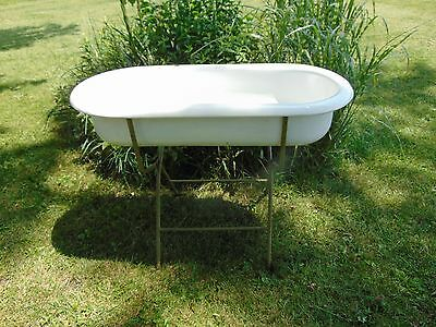 Antique Garden Baby Porcelain Bath Tub Green Metal Folding Stand French Country