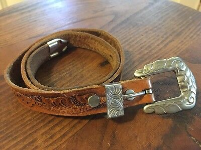 Brown Tooled Leather Belt Children's Size 24 Chambers Western Hand Finished