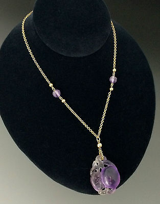 Chinese Carved Amethyst Necklace Pendant  Plum Fruits