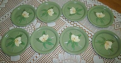 Vintage 8 Beverage Coasters Metal In Box Green With Creamy Yellow White Roses