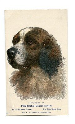 Philadelphia Dental Parlors Trade Card w/ St. Bernard Dog