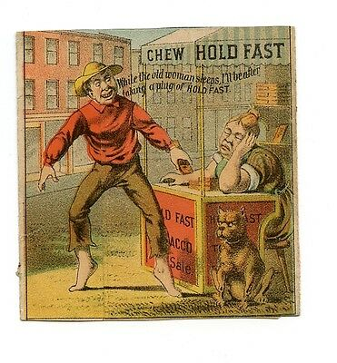 Hold Fast Chewing Tobacco Folding Trade Card w/ Dog, Thief