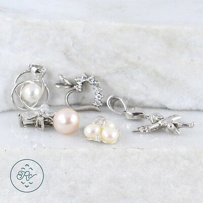 Sterling Silver | (QTY 5) Assorted Crystal Pearl Pendants 10.4g | Lot MZ9183