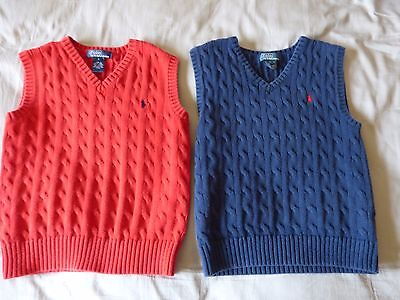 LOT of 2 RALPH LAUREN POLO BOYS CABLE KNIT SWEATER VEST SIZE 7 NAVY BLUE RED