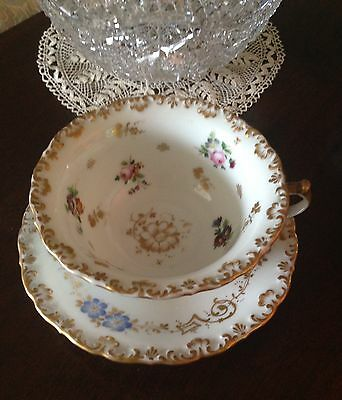 Antique LARGE Porcelain Soup Cup Saucer -German French? - Dresden Limoges 19th C