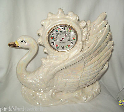 Vintage Lustreware Large 26cm Swan with Thermometer - Japan - REDUCED