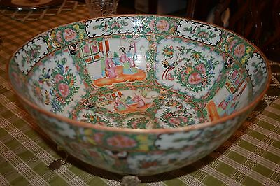 Large Antique Chinese Rose Medallion Punch Bowl Porcelain 1850 to 1880