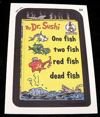 Vintage 1991 Topps WACKY PACKAGES DR. SUSHI SEUSS ONE FISH TWO Sticker Card #44