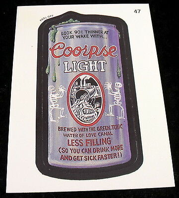 Vintage 1991 Topps WACKY PACKAGES COORPSE LIGHT COORS SHEMP HOWARD Sticker #47