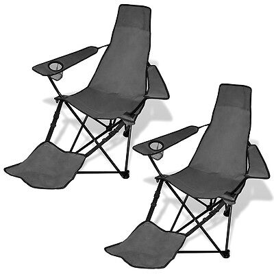 2X Folding Outdoor Travel Camping Fishing Chair w/ Footrest Seat Arm Picnic Grey