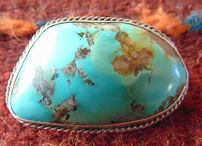 Turquoise Silver Mounted Nugget  Brooch