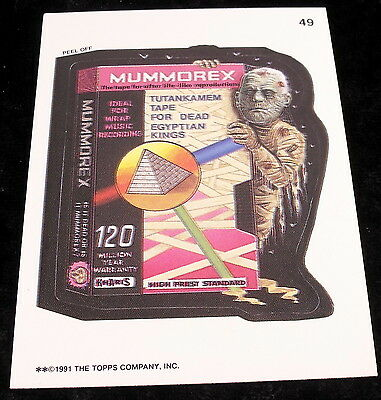 Vintage 1991 Topps WACKY PACKAGES MUMMOREX MEMMOREX TAPE Sticker Card #49