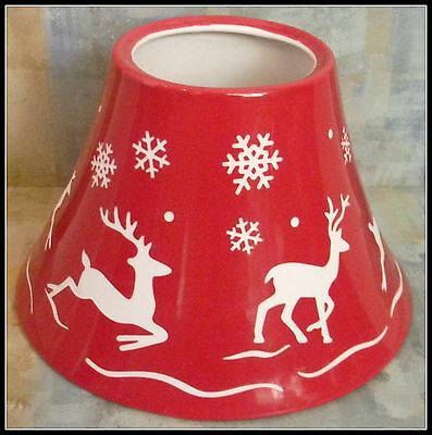 YANKEE CANDLE Etched Red Reindeer Christmas Candle Topper (Fits M/L Jars) EUC!
