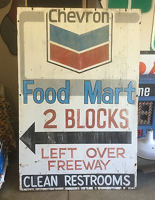 VINTAGE HUGE WOOD PAINTED Standard Station Chevron Porcelain Sign Oil Gas WOODEN