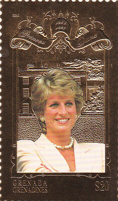 Princess Diana gold and colored stamp Grenada Grenadines MNH