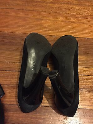 Ladies Franco Sarto Patent Leather And Suede Heels Size 10 Black