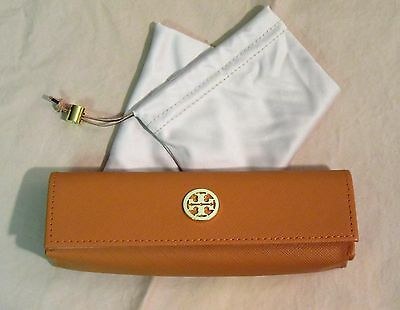 NWOT Authentic Tory Burch Eyeglass Case Orange with Cloth Pouch & Charm