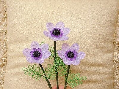 ** French Beaded Flowers ** 3 Lavender Windflowers **