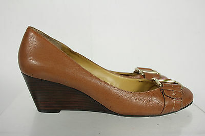 Nine West Brown Leather Metal Buckle Embellishment Slip On Wedge Shoes Size 10M