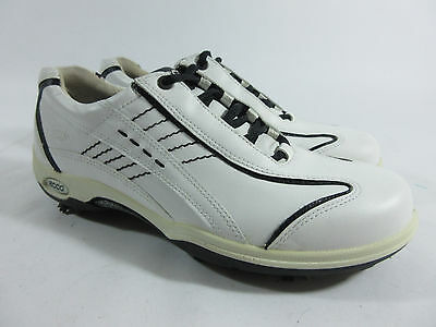 Ecco Hydromax White Leather Full Comfort Golf Shoes Womens Size 39/8-8.5