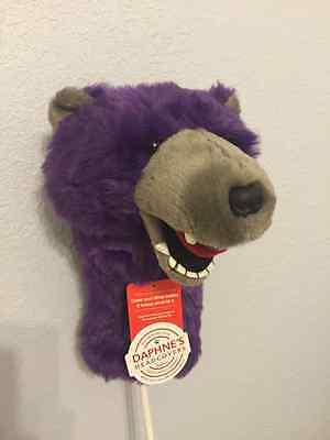 Purple Grizzly Bear by Daphne's Large Novelty Golf Club Driver 1 Wood Headcover
