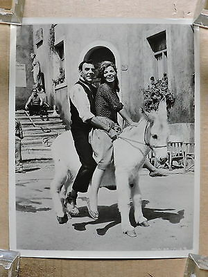 Scilla Gabel and Eric Sykes on a donkey candid photo 1962 Village of Daughters