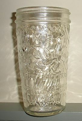 Vintage 5 oz Jumbo Peanut Butter Glass Jar w/tapered bottom Frank Tea & Spice Co