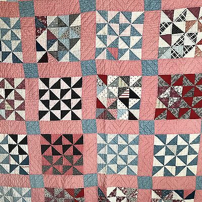 "Calico Quilt Broken Dishes Antique Vintage Large Variety Pretty Fabrics 72"" X 66"