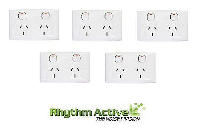 Clipsal 25 We 5-Pack Twin Switch Outlet Power Wall Socket Double 10A/240V