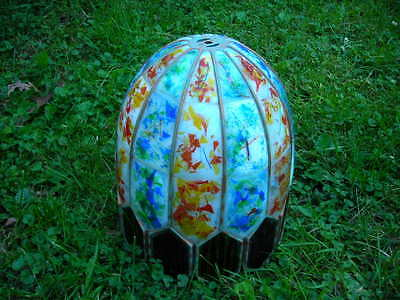 Unusual Vintage/antique Heavy Retro Slag Glass Enamled Lamp Shade 13X13X11.