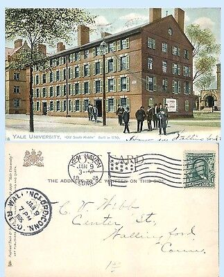 Yale University Old South Middle College 1905 UDB Tuck Postcard - Architecture