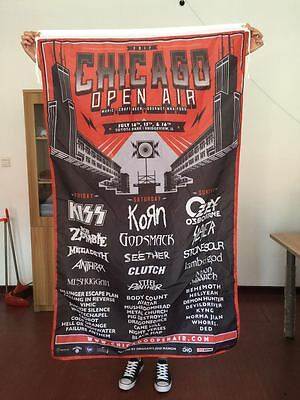 Chicago Open Air Line up Flag Huge 3x5ft Rob Zombie Korn Kiss Ozzy