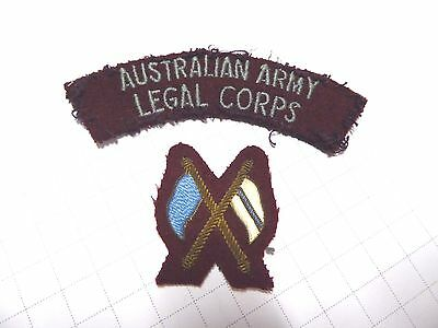 Ww11 - Post Aif Australian Army Legal Corps Shoulder Patch And Signaller's Flags