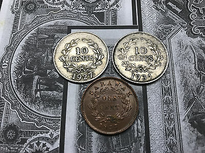 Sarawak 1927 & 1934 10c Ten Cents & 1937 1c One Cent Coins Charles V Brooke