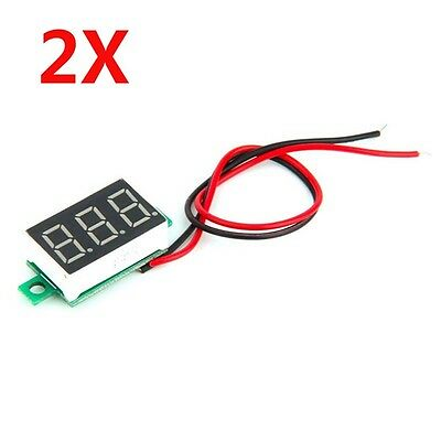 2pcs Mini LED 3-Digital Display Voltage ammeter DC Voltmeter Panel Motor Meter