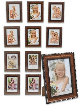 """10 x Lot of Brown 5x7"""" Wood Photo Picture Frame, Silver Border, Desk, Wholesale"""