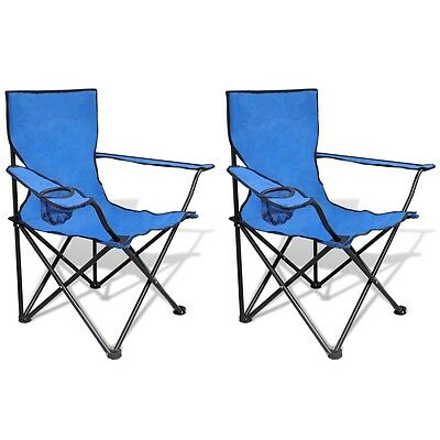 S# 2X Folding Outdoor Travel Camping Fishing Chair PE Coating Seat Arm Picnic Bl