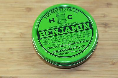 Vintage Tin Container Air Rifle Pellets Benjamin St Louis Mo USA Green Lid Empty