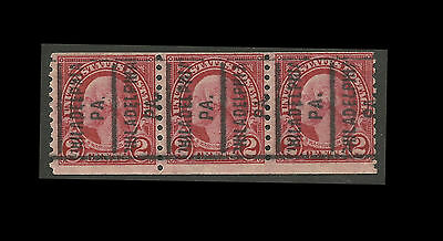 "US 2c Washington Strip of 3 Precancel ""Philadelphia, PA."" Perf. 10 Vert. #FZ166"