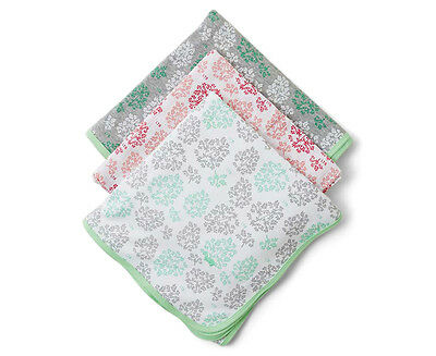 Little Turtle Baby Stretch Cotton Jersey & Cotton Muslin Wrap 3-Pack - Mint/Pink