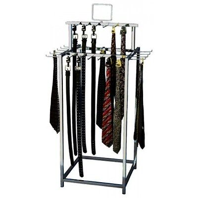 For Sale Floor Belt and Tie Display Rack - 2 Tier 34 Hook Sign Holder (Chrome)