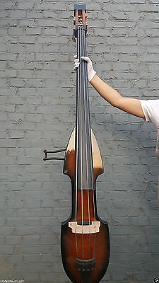 new Electric 3/4 Upright Double Bass Powerful Sound solid wood Soft bag #EB11