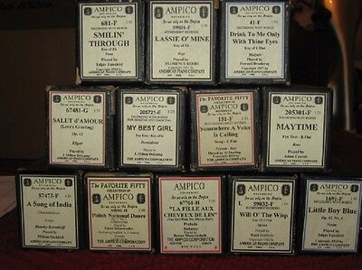 Ampico Player Piano Rolls for Your Collection - Twelve Total