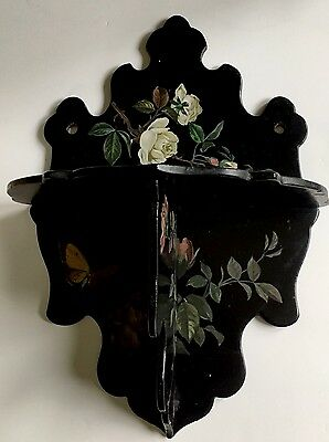 Antique Victorian Papier Mache Flower Floral Decoupage folding wall shelf