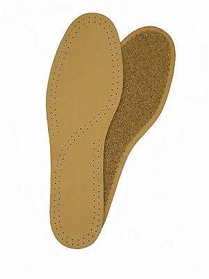 LEATHER & CORK DELUXE INSOLES TAN insoles Sizes UK 14-16 Eur 48-50
