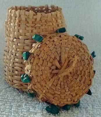 Old Miniature, Lidded Native American Basket With Turquoise Cherokee ? Woodlands