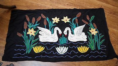 Swans Cattails Chenille Embroidery Finished Punch Needle Sampler Frame or Pillow