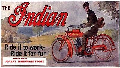1914 Indian Motorcycle Motorbike Sign Hardware Store Historical Art Poster 31544