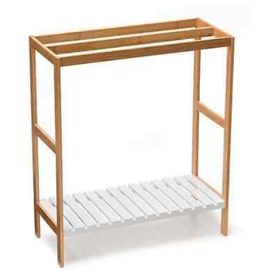 Bamboo Towel Rail rack bathroom accessory timber with shelf for extra storage