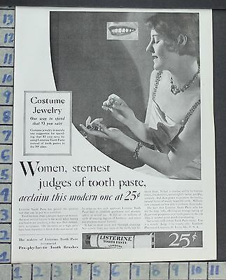 1930 Listerine Tooth Paste Prophylactic Brush Health Beauty Vintage Art Ad Ce84